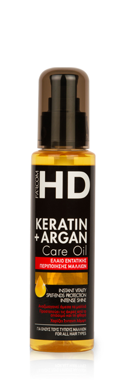 Atstatantis plaukus aliejus su Keratinu ir Arganu Farcom HD Keratin+ Argan Care Oil Instant Vitality Split-Ends Protection Intense Shine 100ml -0