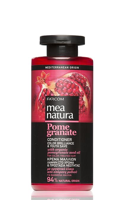 Dažytų plaukų kondicionierius su organinių granatų sėklų aliejais Farcom Mea Natura Pome Granate Conditioner Color Brilliance & Youth Save For Color-Treated hair 300 ml-0