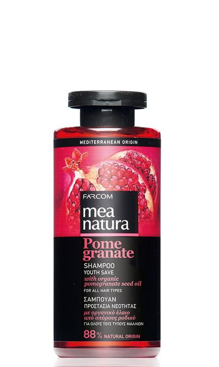 Šampūnas su organinių granatų sėklų aliejais Farcom Mea Natura Pome Granate Shampoo Youth Save For All Hair Types 300 ml-0
