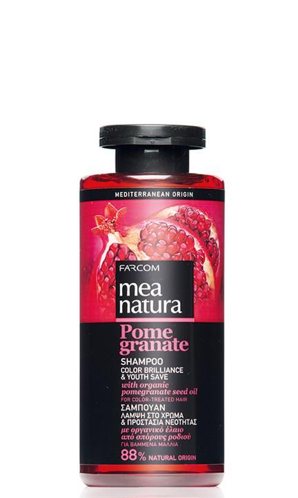 Dažytų plaukų, šampūnas su organinių granatų sėklų aliejais Farcom Mea Natura Pome Granate Shampoo Color Brilliance & Youth Save For Color-Treated hair 300 ml-0