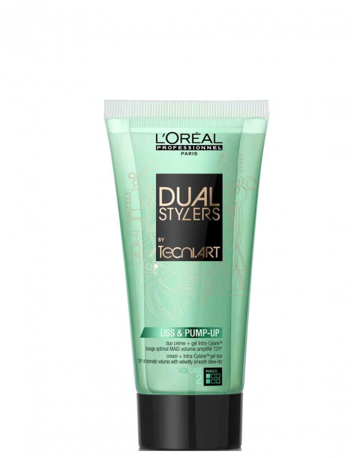 Dvigubos tekstūros plaukų formavimo gelis+kremas L'oreal Dual Stylers Tecni Art Liss&Pump-up 150ml-0
