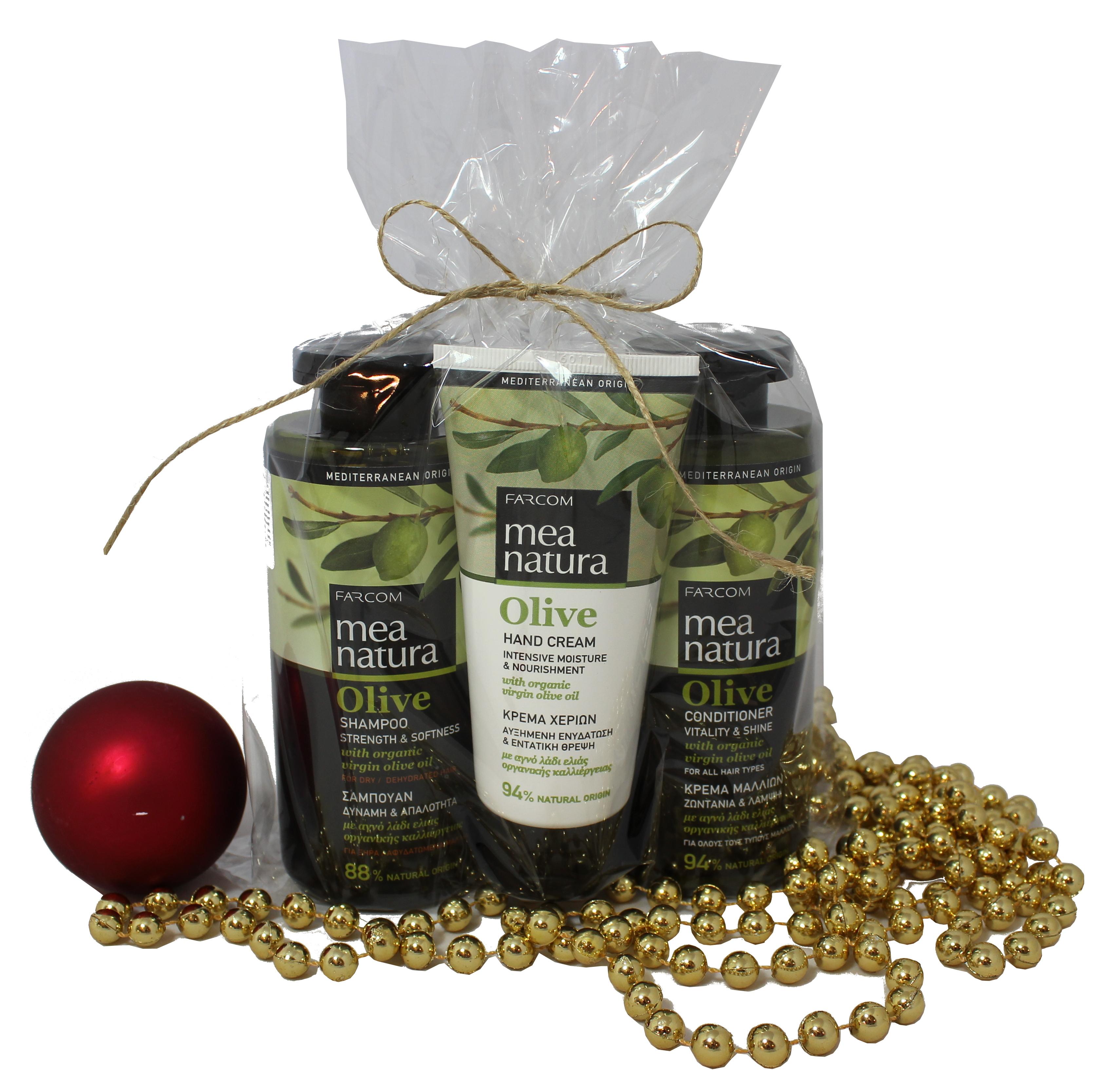 Farcom Mea Natura Olive rinkinukas sausiems plaukams + rankų kremas-0