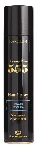 Stiprios fiksacijos plaukų lakas FARCOM Beauty Code 555 Hair Spray 400 ml-0