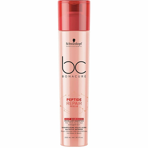 Pažeistų plaukų šampūnas Schwarzkopf Bonacure Peptide Thick Deep Nourishing Repair Rescue Shampoo 250 ml