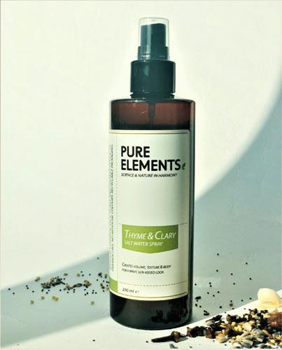 Čiobrelių ir šalavijo purškiama jūros druska plaukams Pure Elements Thyme & Clary Salt Water Spray 200ml